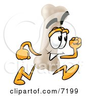 Clipart Picture Of A Bone Mascot Cartoon Character Running by Toons4Biz