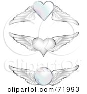 Royalty Free RF Clipart Illustration Of A Digital Collage Of Silver Wings With Hearts And Orbs by inkgraphics