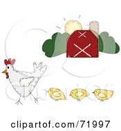 Royalty Free RF Clipart Illustration Of A Hen With Chickens Walking Near A Barn by inkgraphics