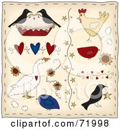 Digital Collage Of Folk Birds Hearts Stars And Flowers by inkgraphics