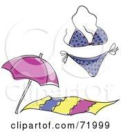 Royalty Free RF Clipart Illustration Of A Digital Collage Of A Purple Bikini Beach Towel And Beach Umbrella