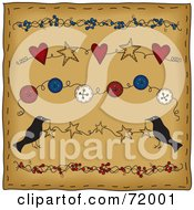 Brown Folk Background With Berry Star Button And Heart Dividers With Crows