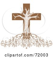 Royalty Free RF Clipart Illustration Of A Deeply Rooted Crucifix Tree by inkgraphics