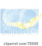 Royalty Free RF Clipart Illustration Of A Golden Winged Hearts On A Blue Magical Background by inkgraphics