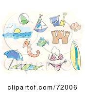 Royalty Free RF Clipart Illustration Of A Digital Collage Of Beach Icons Ball Sailboat Beach Toys Sand Castle Ocean Bikini Fish Surfboard Etc