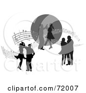 Royalty Free RF Clipart Illustration Of Three Dancing Silhouetted Couples With Sheet Music