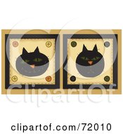 Royalty Free RF Clipart Illustration Of Happy And Grumpy Black Cat Face Tiles by inkgraphics