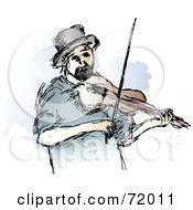 Royalty Free RF Clipart Illustration Of A Violinist Playing A Fiddle