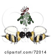 Royalty Free RF Clipart Illustration Of A Folk Art Bee Couple Under Mistletoe