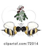 Folk Art Bee Couple Under Mistletoe