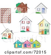 Royalty Free RF Clipart Illustration Of A Digital Collage Of Real Estate Buildings And Homes by inkgraphics