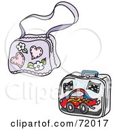 Royalty Free RF Clipart Illustration Of A Digital Collage Of A School Bag And Lunch Box