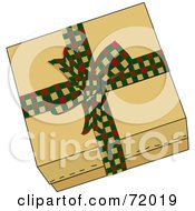 Royalty Free RF Clipart Illustration Of A Brown Gift Box Sealed With A Festive Checkered Bow