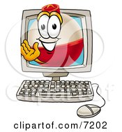 Clipart Picture Of A Fishing Bobber Mascot Cartoon Character Waving From Inside A Computer Screen