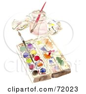 Royalty Free RF Clipart Illustration Of A Paintbrushes In A Water Jar And Resting On Paints