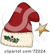 Royalty Free RF Clipart Illustration Of A Folk Styled Santa Hat With A Star by inkgraphics