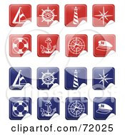 Royalty Free RF Clipart Illustration Of A Digital Collage Of Peeling Nautical Stickers by inkgraphics