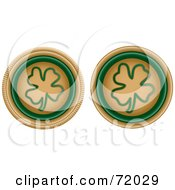 Digital Collage Of Two Beige And Green Clover Buttons by inkgraphics