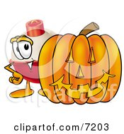 Clipart Picture Of A Fishing Bobber Mascot Cartoon Character With A Carved Halloween Pumpkin by Toons4Biz