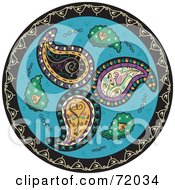 Royalty Free RF Clipart Illustration Of A Blue Circle Paisley Mandala by inkgraphics #COLLC72034-0143