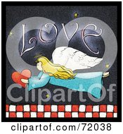 Royalty Free RF Clipart Illustration Of A Love Angel Flying With A Heart Over Red And White Checkers by inkgraphics