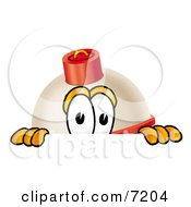 Clipart Picture Of A Fishing Bobber Mascot Cartoon Character Peeking Over A Surface