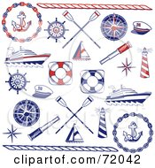 Royalty Free RF Clipart Illustration Of A Digital Collage Of Red And Blue Nautical Icons by inkgraphics #COLLC72042-0143