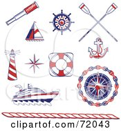Digital Collage Of Red Blue And White Nautical Icons