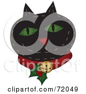 Royalty Free RF Clipart Illustration Of A Black Happy Christmas Cat Wearing A Holly Collar by inkgraphics