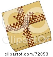 Royalty Free RF Clipart Illustration Of A Brown Gift Box Sealed With A Brown Checkered Bow by inkgraphics