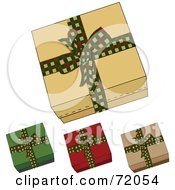Digital Collage Of Four Gift Boxes With Checkered Festive Bows by inkgraphics