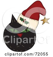 Royalty Free RF Clipart Illustration Of A Black Grumpy Christmas Cat Wearing A Santa Hat by inkgraphics