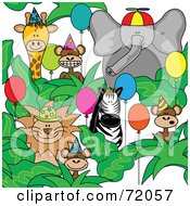 Royalty Free RF Clipart Illustration Of A Group Of Party Animals With Hats And Balloons