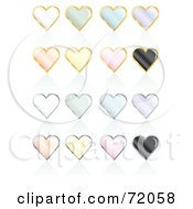 Royalty Free RF Clipart Illustration Of A Digital Collage Of Pastel Pearly Heart Icons With Reflections by inkgraphics
