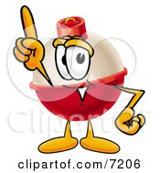 Clipart Picture Of A Fishing Bobber Mascot Cartoon Character Pointing Upwards