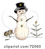 Rounded Snowman With A Sign And Tree by inkgraphics