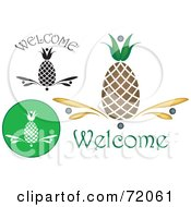 Royalty Free RF Clipart Illustration Of A Digital Collage Of Welcome Pineapples by inkgraphics #COLLC72061-0143
