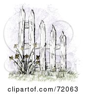 Royalty Free RF Clipart Illustration Of A Picket Fence With Coneflowers by inkgraphics #COLLC72063-0143