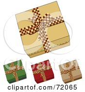 Digital Collage Of Four Gift Boxes With Checkered Red Bows by inkgraphics