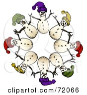 Circle Of Snowmen Wearing Hats by inkgraphics