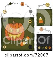 Digital Collage Of Hanging Pumpkin And Candy Corn Door Signs by inkgraphics