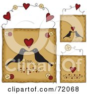 Royalty Free RF Clipart Illustration Of A Digital Collage Of Hanging Love Crow Door Signs by inkgraphics