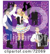 Royalty Free RF Clipart Illustration Of Couples Dancing To Polka Music And An Accordian Man On Purple by inkgraphics
