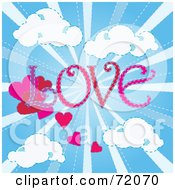 Royalty Free RF Clipart Illustration Of The Word LOVE With Hearts In A Shining Blue Sky With Clouds by inkgraphics
