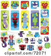 Royalty Free RF Clipart Illustration Of A Digital Collage Of Peeling Monster Stickers And Items by inkgraphics