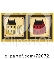 Royalty Free RF Clipart Illustration Of Two Yellow And Red Home Tiles by inkgraphics