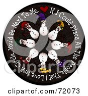 Circle Of Snowmen On A Black Circle With Text by inkgraphics