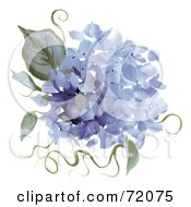 Royalty Free RF Clipart Illustration Of Blue Hydrangea Flowers And Leaves by inkgraphics