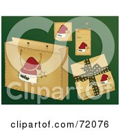 Royalty Free RF Clipart Illustration Of A Digital Collage Of Santa Hat Christmas Present Items On Green by inkgraphics