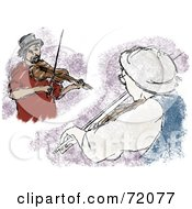 Royalty Free RF Clipart Illustration Of Two Views Of Male Violinists